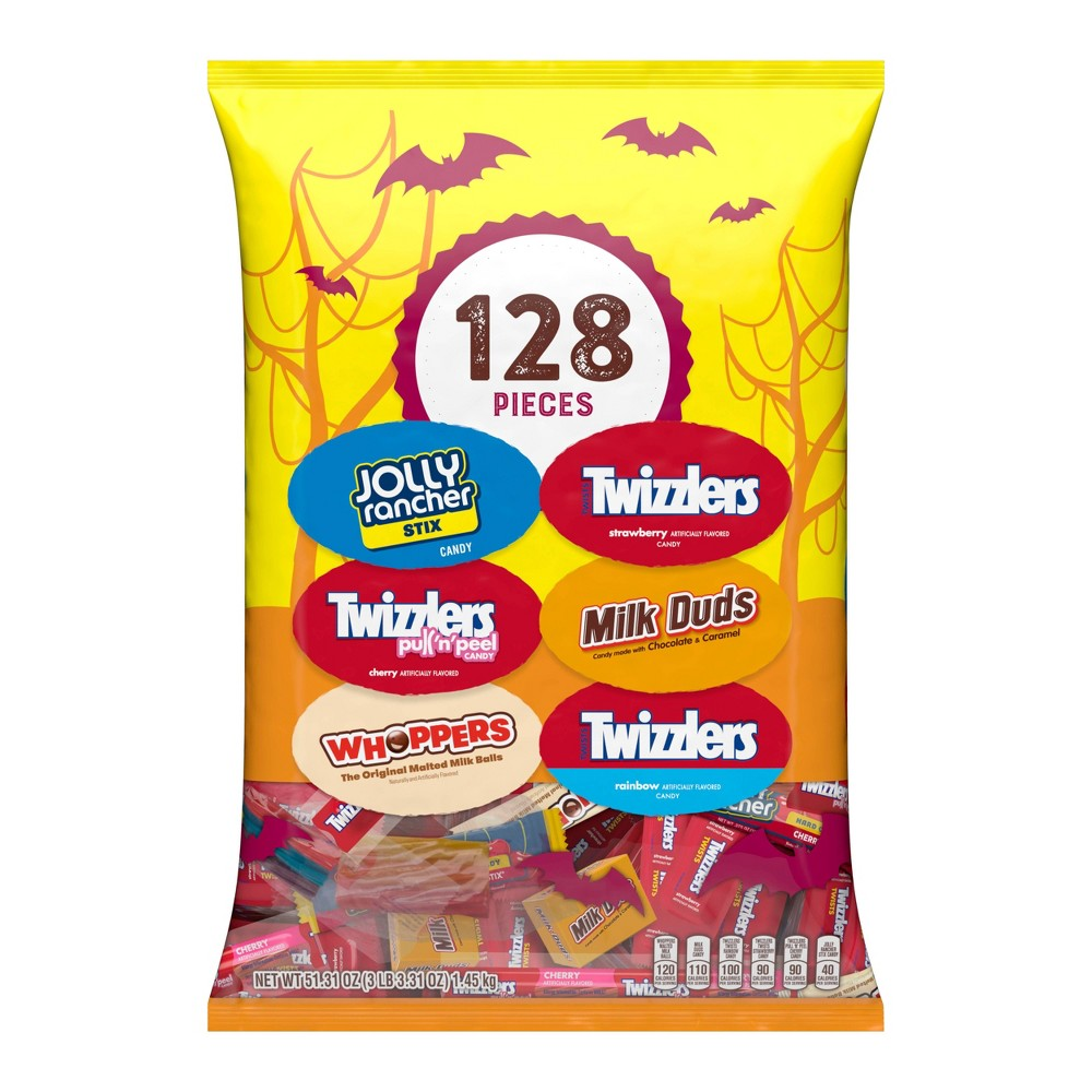Jolly Rancher Twizzlers Whoppers and Milk Duds Halloween Variety Bag - 51.31oz / 128ct