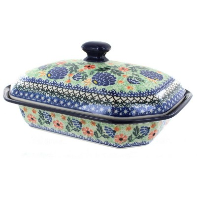 Blue Rose Polish Pottery Sofia Medium Covered Baking Dish