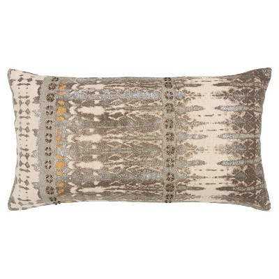 """14""""x26"""" Oversized Abstract Polyester Filled Lumbar Throw Pillow Natural - Rizzy Home"""