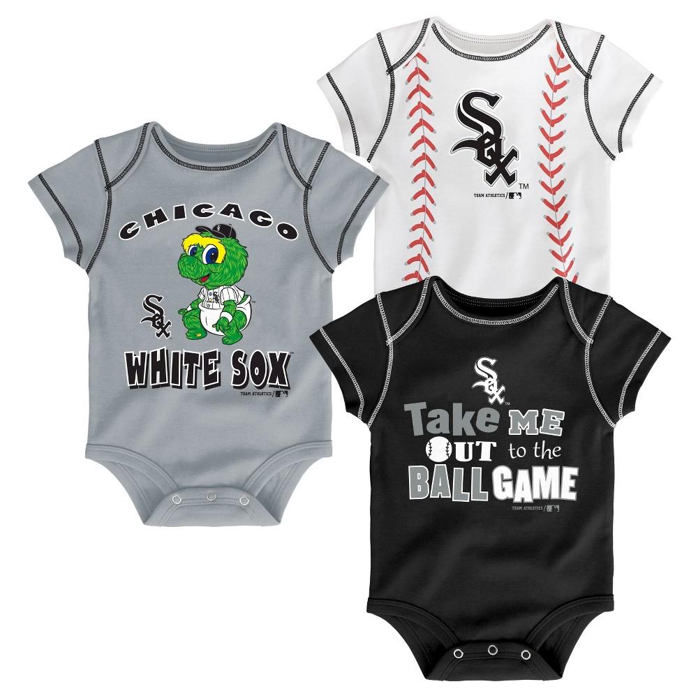 Chicago White Sox Boys' 3pk Bodysuit Crawlers 3-6 M, Size: 3-6M
