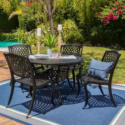 Carysfort 5pc Aluminum Dining Set - Black Sand - Christopher Knight Home