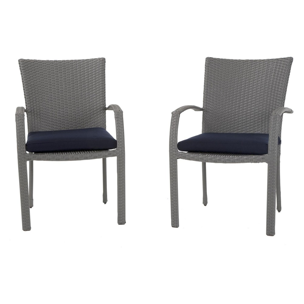 Lakewood Ranch 6pc Steel and Wicker Patio Dining Chairs - Gray/Blue - Cosco Outdoor Living