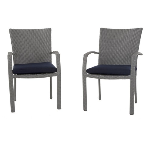 Cosco Lakewood Ranch 6pc Steel And Wicker Patio Dining Chairs Gray Blue