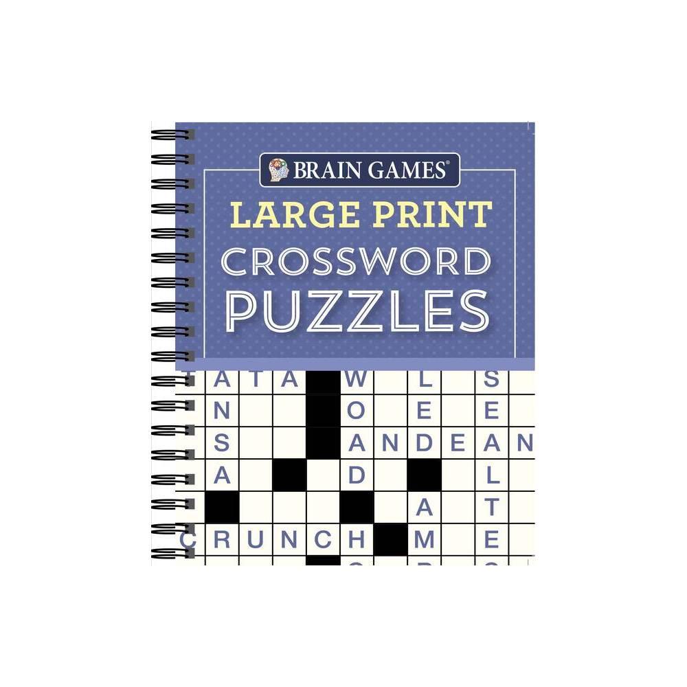 Brain Games Large Print Crossword Puzzles Purple Spiral Bound