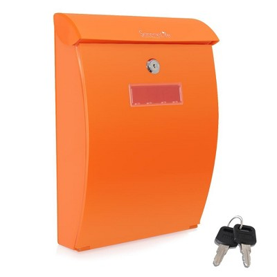 SereneLife SLMAB35 Home Indoor Outdoor Reinforced ABS Plastic Wall Mount Secure Locking Mailbox Magazine Newspaper Holder with Keys, Orange