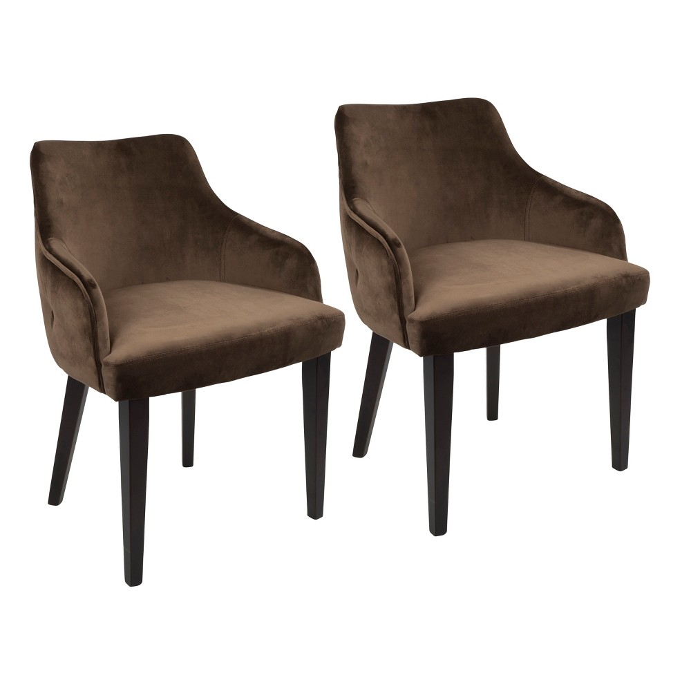 Set of 2 Eliza Contemporary Dining Chairs Brown - LumiSource