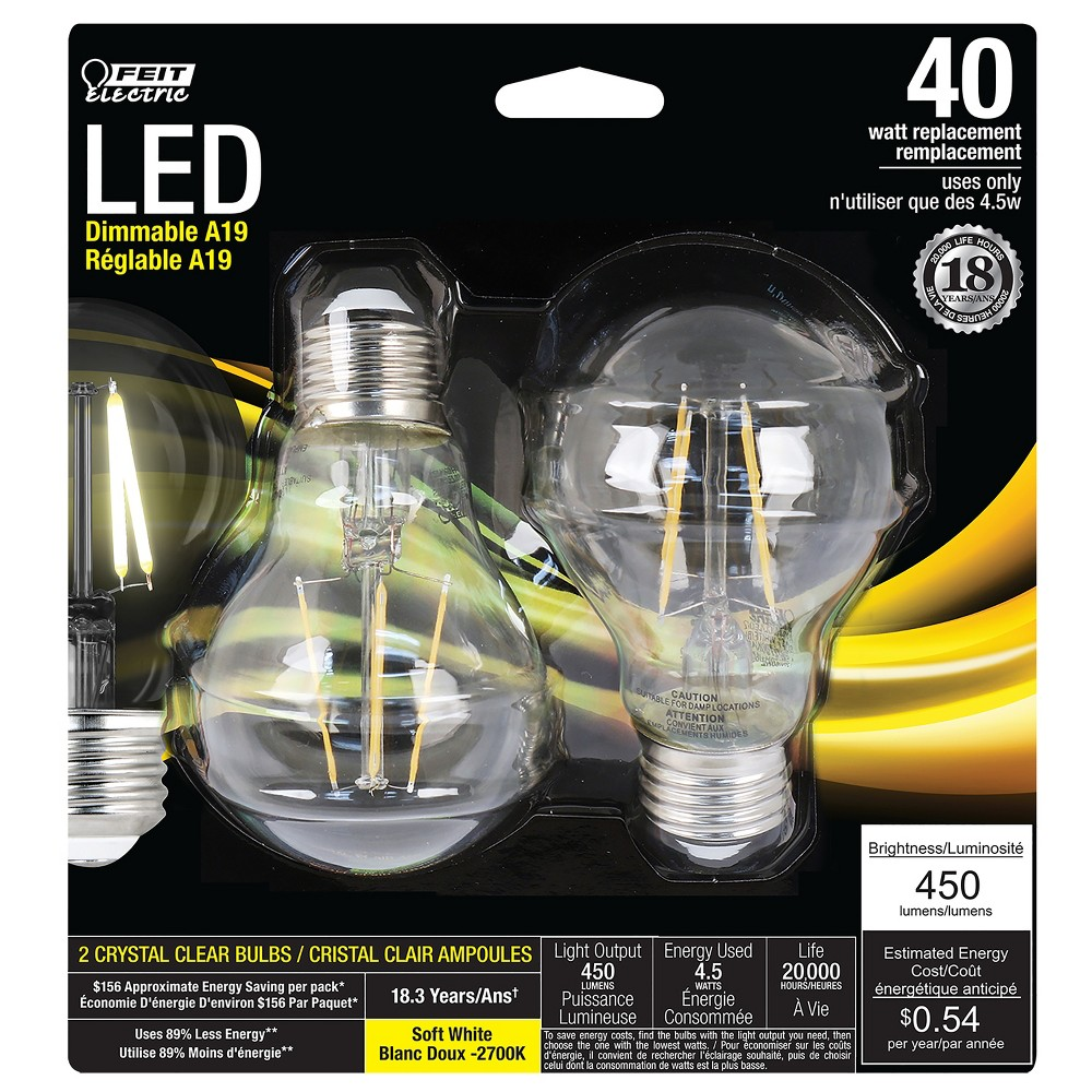Led 40W Clear Soft White 2pk - Feit Electric