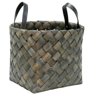 11 x13.75  Tinted Bias Woven Chipwood Basket Round Top Afternoon Tea Brown - Threshold™