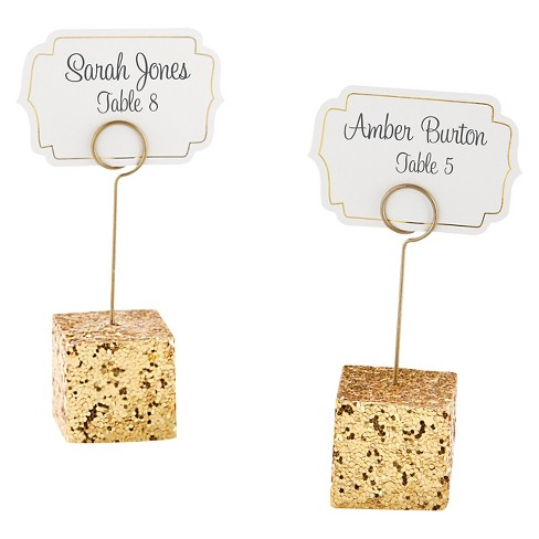 12ct Gold Glitter Placecard Holders