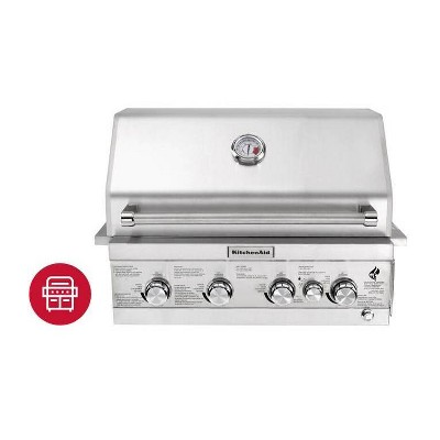 KitchenAid  Premium 4-Burner Built-in Grill with Rotisserie Burner and Grill Cover 740-0780CO