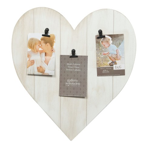 Multiple Image Whitewash Heart 3 Clips Frame - Gallery Solutions ...