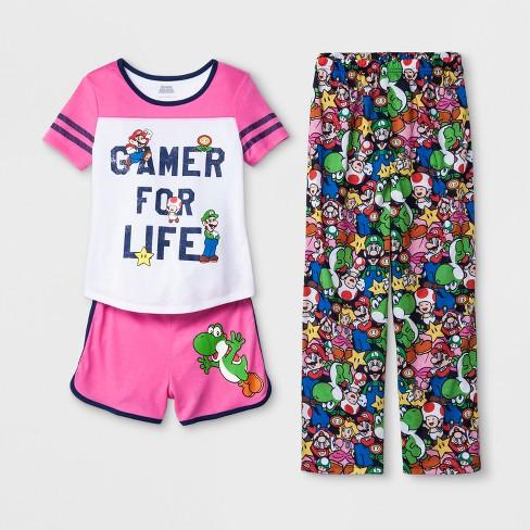 cb2a87a2920 Girls' Super Mario 3pc Pajama Set - White/Pink