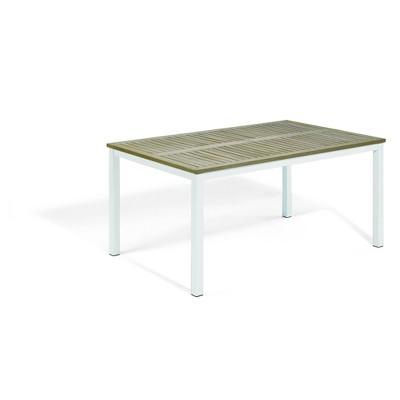 "Travira 63"" Rectangular Patio Table with Vintage Tekwood Top & Chalk Powder-Coated Aluminum Frame - Oxford Garden"