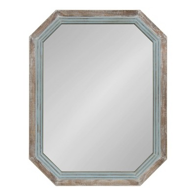 """28"""" x 36"""" Palmer Wood Octagon Wall Mirror Blue/Brown - Kate and Laurel"""