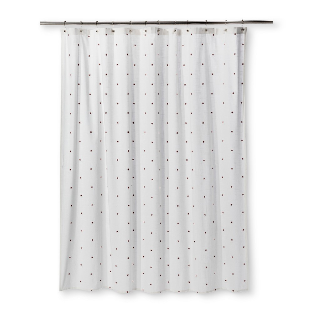 Embroidered Mini Floral Shower Curtain Sour Cream - Threshold
