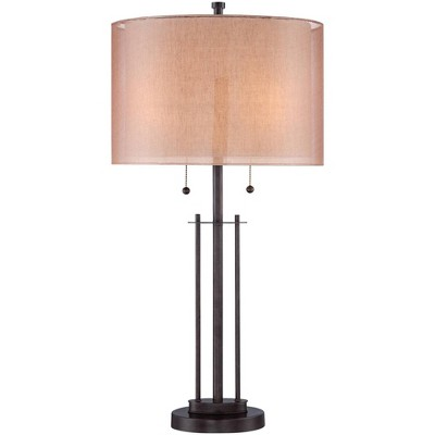 Franklin Iron Works Modern Bronze Metal Base Rose Gold Soft Tan Linen Fabric Double Drum Shade for Living Room Family Bedroom