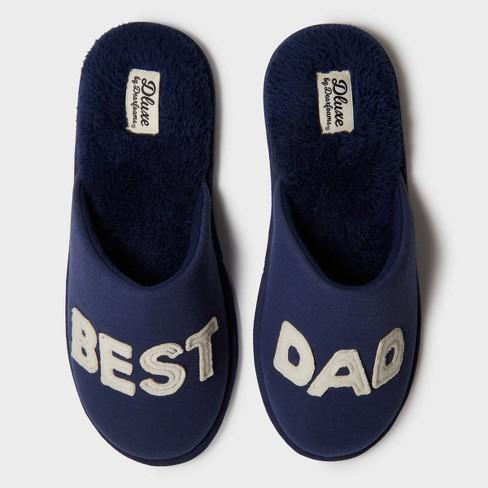 Men's dluxe by dearfoams Best Dad Slide Slippers - Navy - image 1 of 4