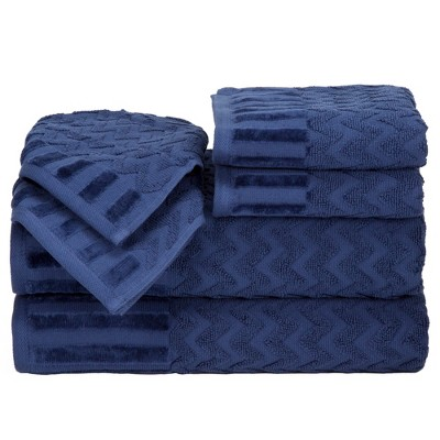 Chevron Bath Towels And Washcloths 6pc Navy - Yorkshire Home