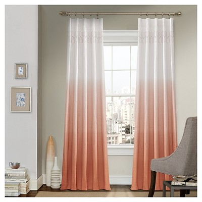 "84""x52"" Arashi Ombre Embroidery Light Filtering Curtain Panel Orange - Vue"