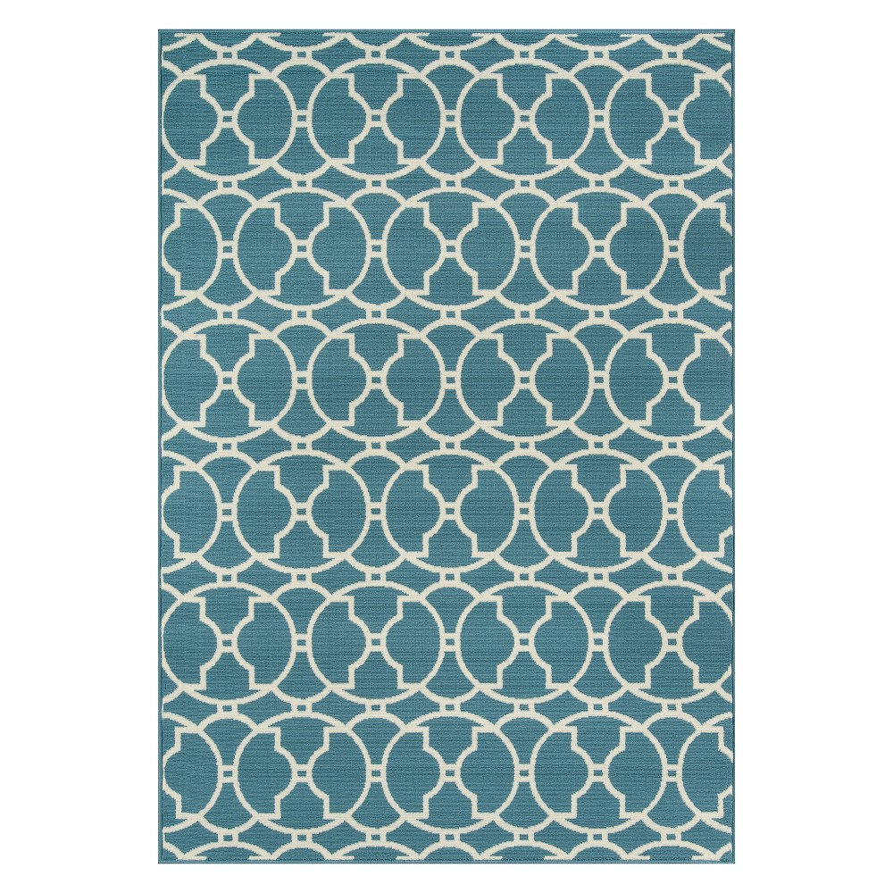 Geometric Loomed Accent Rug Blue