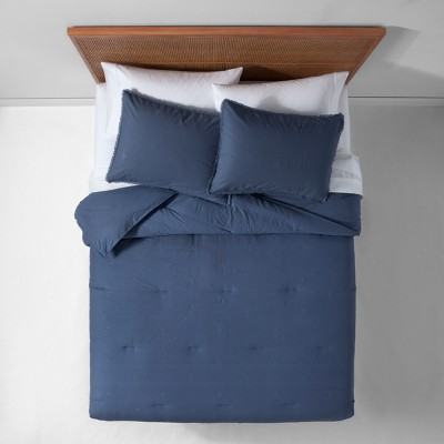 Indigo Garment Washed Embroidered Comforter Set (Full/Queen)- Opalhouse™