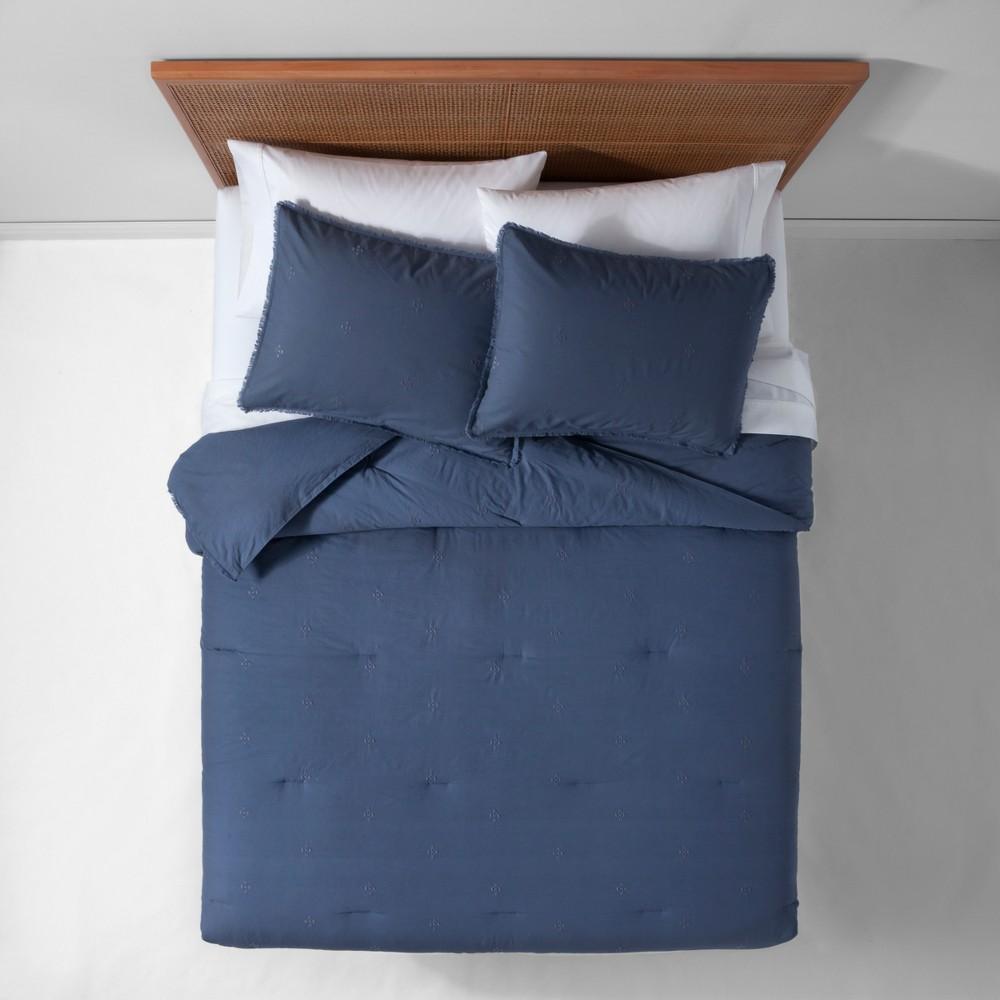 Indigo (Blue) Garment Washed Embroidered Comforter Set (King) - Opalhouse