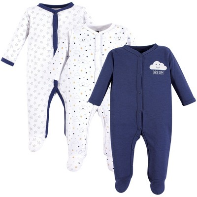 Hudson Baby Infant Boy Cotton Snap Sleep and Play 3pk, Navy Clouds