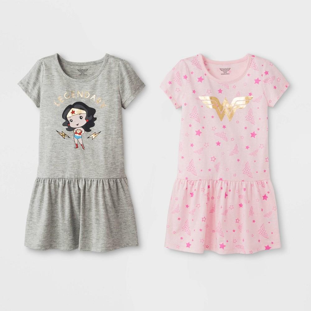 790ac4cb7 Toddler Girls 2pk DC Comics Wonder Woman T Shirt Dresses PinkGray 2T  Multicolored