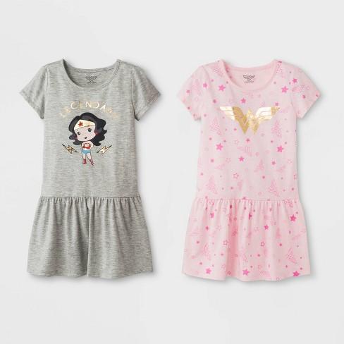 Toddler Girls' 2pk DC Comics Wonder Woman T-Shirt Dresses - Pink/Gray - image 1 of 1