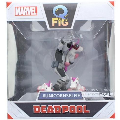 Quantum Mechanix Marvel 3.5 Inch Q-Fig Mini Figure | X-Force Deadpool Unicorn Selfie - image 1 of 3