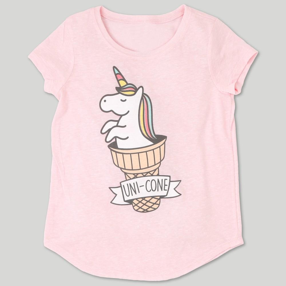 L.O.L. Vintage Girls' Unicorn Graphic Short Sleeve T-Shirt - Pastel Pink XS