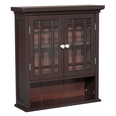 Neal Wall Cabinet with 2 Doors Dark Espresso - Elegant Home Fashions, Brown