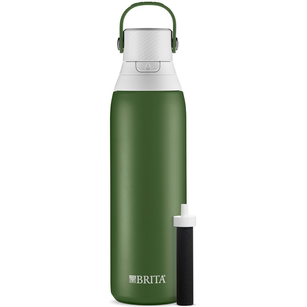 Image of Brita 20oz Premium Double-Wall Stainless Steel Insulated Filtered Water Bottle - Green