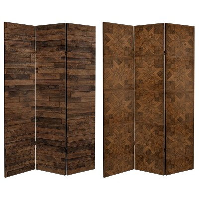 """6"""" Double Sided Walnut Wood Pattern Canvas Room Divider Brown - Oriental Furniture"""