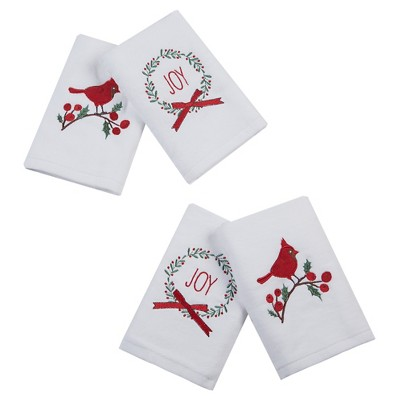 Embroidered Hand Towel Set White