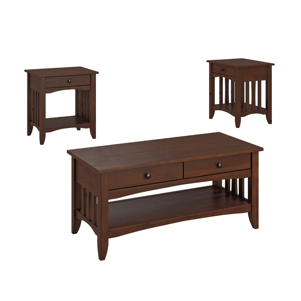 3pc Crestway Solid Wood Coffee Table Set with Drawers Cappuccino - CorLiving