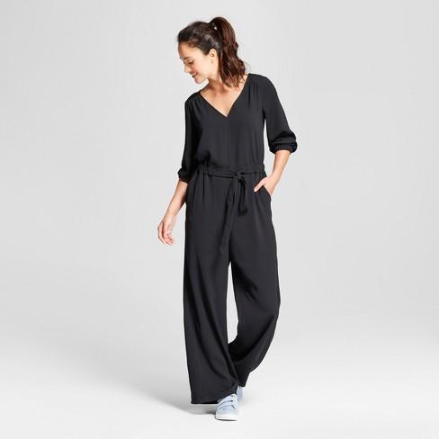 8146bef4524 Women s Tie Waist Jumpsuit - A New Day™ Black   Target