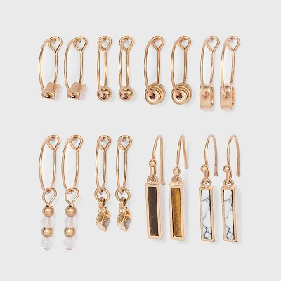 Mixed Semi-Precious with Geometric Shape Charm Hoop Earring Set 8pc - Universal Thread™ Worn Gold