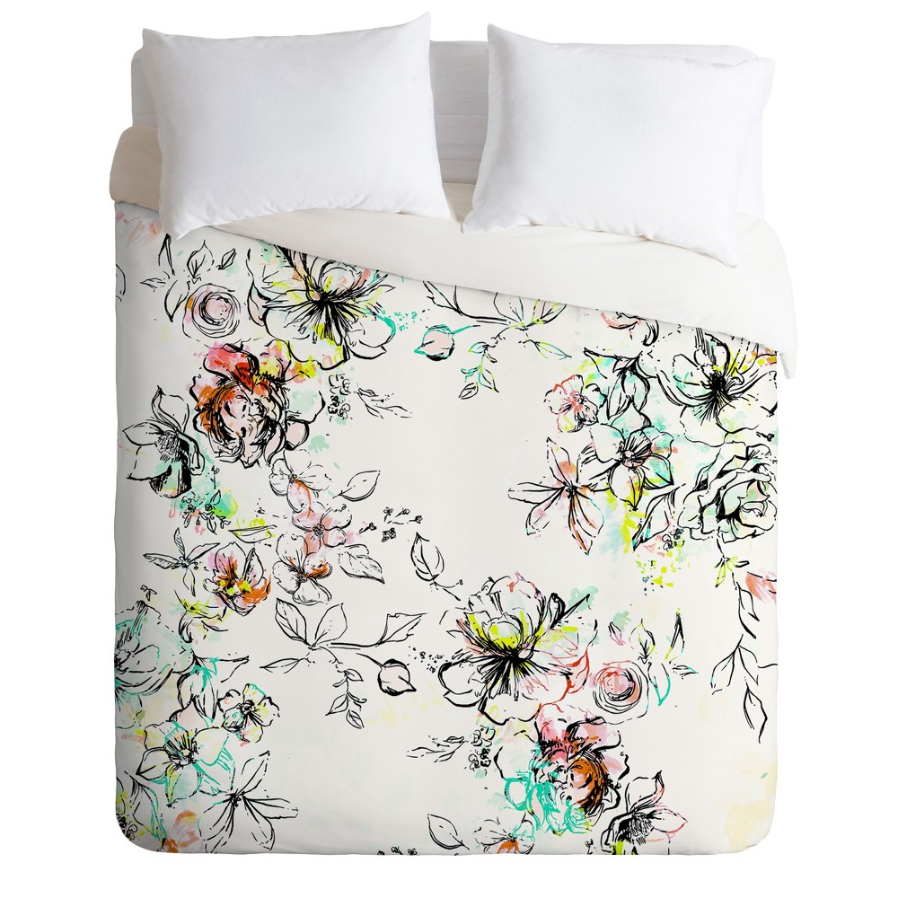 Twin/Twin XL Pattern State Camp Floral Duvet Set Green - Deny Designs