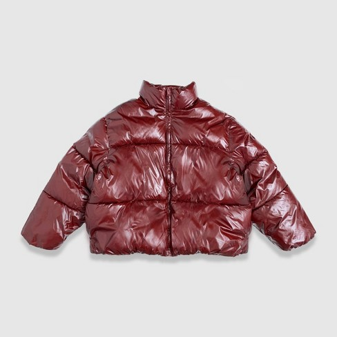 Women's Short Wet Look Puffer Jacket - A New Day™ - image 1 of 2