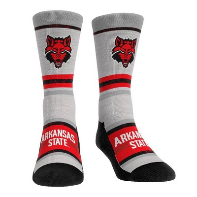 NCAA Arkansas State Red Wolves Adult Cool Gray Block Crew Socks - L/XL
