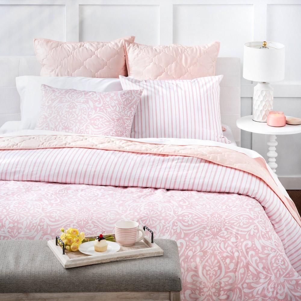 King 3pc Avery Medallion Comforter Set Blush Martha Stewart