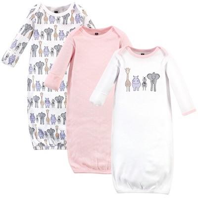 Hudson Baby Infant Girl Cotton Long-Sleeve Gowns 3pk, Pink Safari