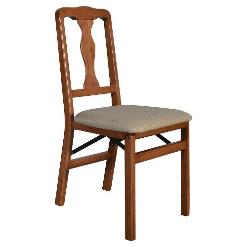 2 Piece Folding Chair with Blush Fabric Seat Cherry - Stakmore , Brown