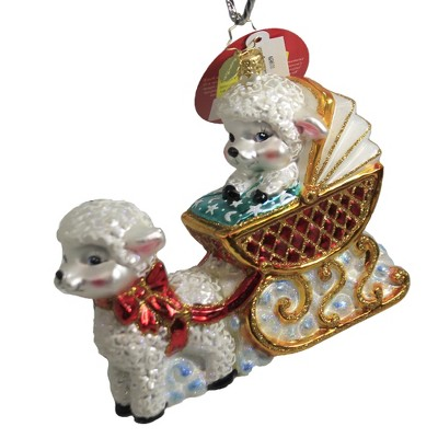 "Christopher Radko 5.0"" Baby Lamb Sleigh Ride Ornament Newborn Birth Baptism  -  Tree Ornaments"