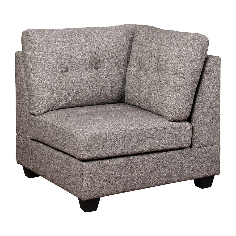 Bronwyn Tufted Corner Chair Light Gray - miBasics