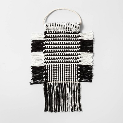 5 x8  Hand Woven Cotton Wall Art with Powder Coated Metal Rod Wall Sculpture Black/White Tapestry - Opalhouse™