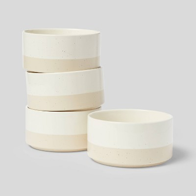 23oz 4pk Stoneware Catlett Cereal Bowls White - Threshold™