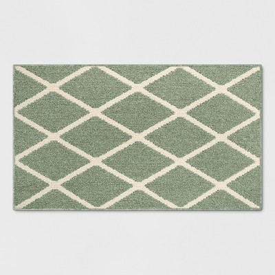 2'6 X3'10 /30 X46  Diamond Tufted And Hooked Accent Rug Green - Threshold™