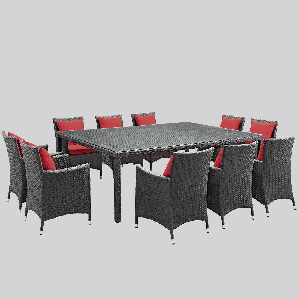 Sojourn 11pc Outdoor Dining Set with Sunbrella Fabric - Red - Modway